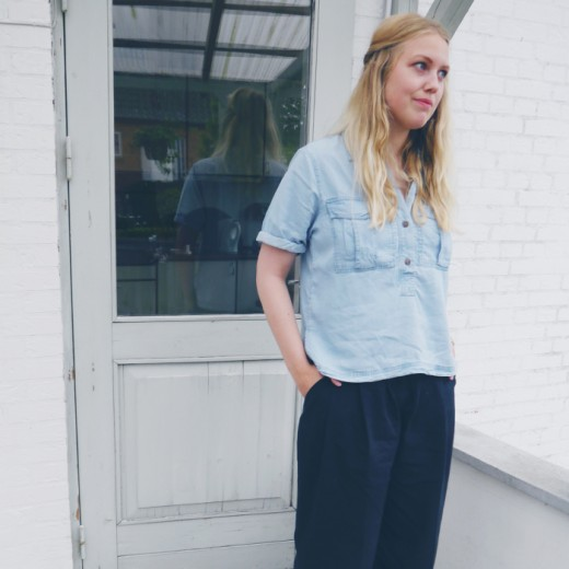 blue shirt and culottes