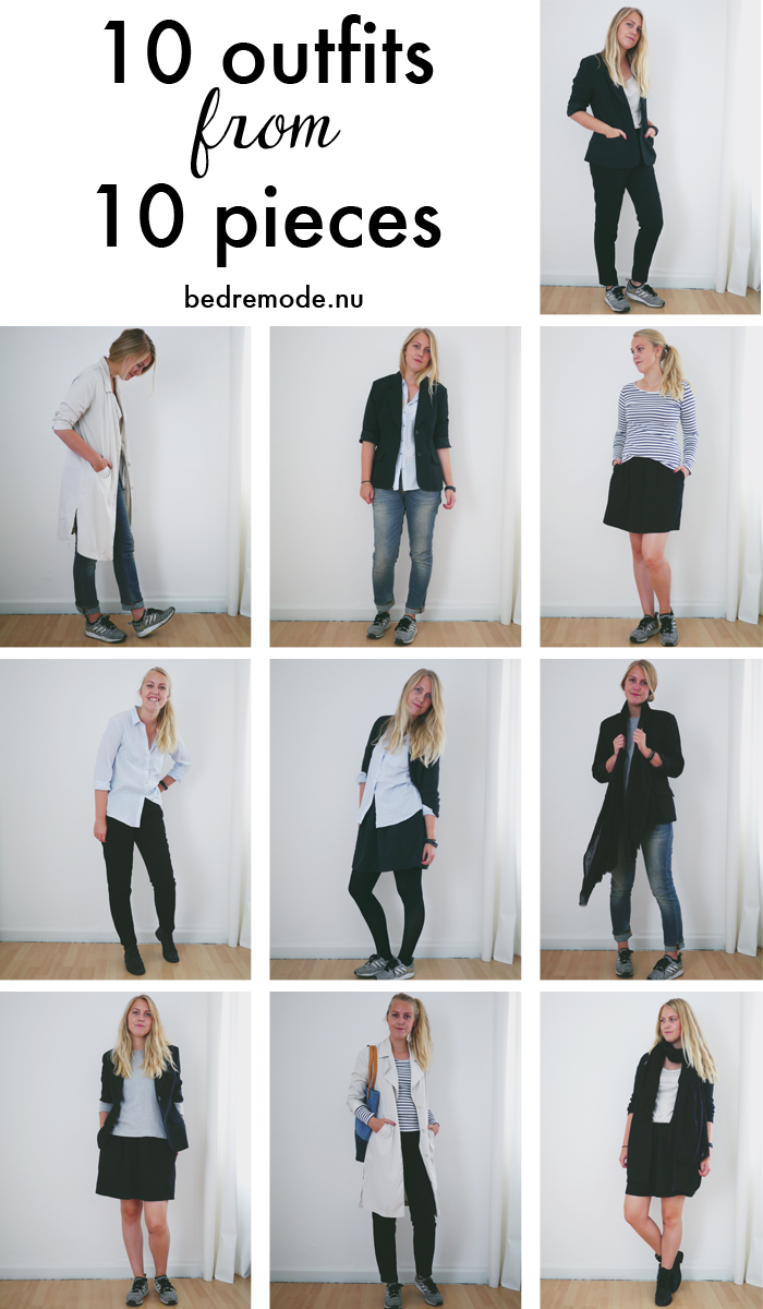 10 outfits from 10 pieces bedremode.nu
