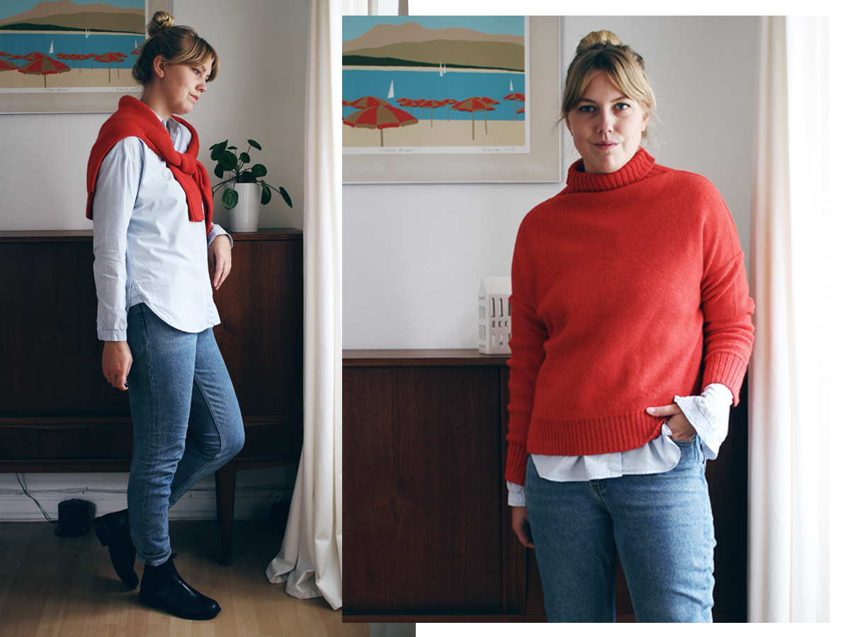 3 måder at style rød sweater 3
