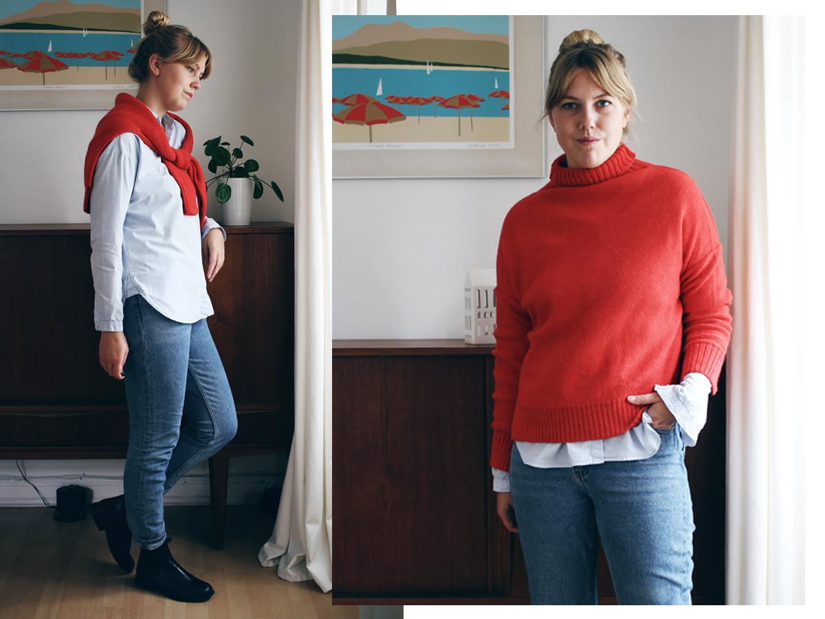 3 måder at style rød sweater 3